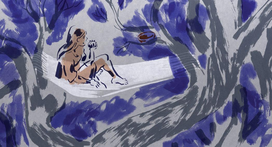 Peinture representant une jeune fille nue sur un tissu blanc, figuratif